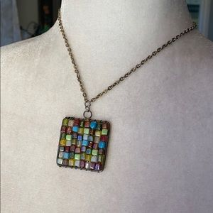 Square charm beaded necklace